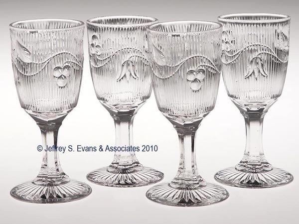 657: BELLFLOWER - SINGLE VINE SET OF FOUR WINE GLASSES
