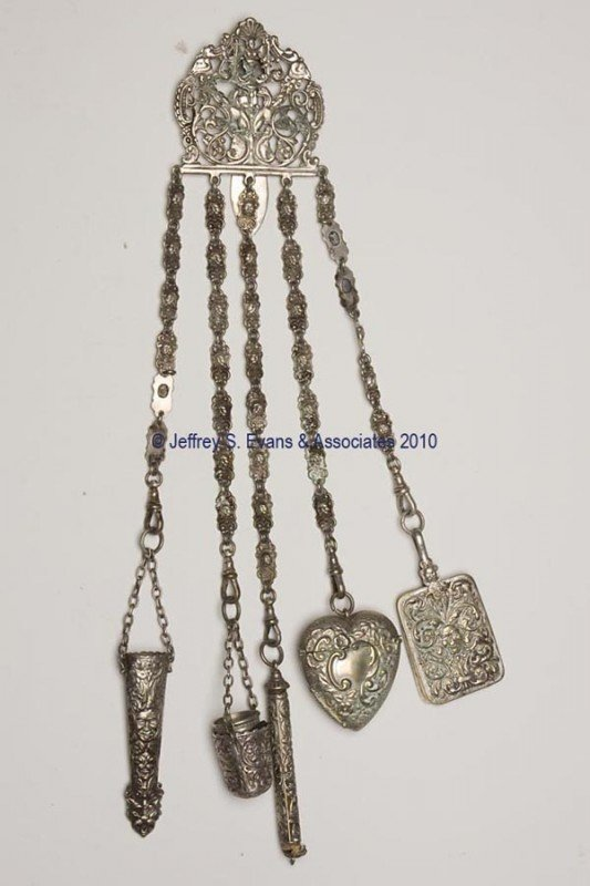 4: SILVER-PLATED NEEDLEWORKING CHATELAINE