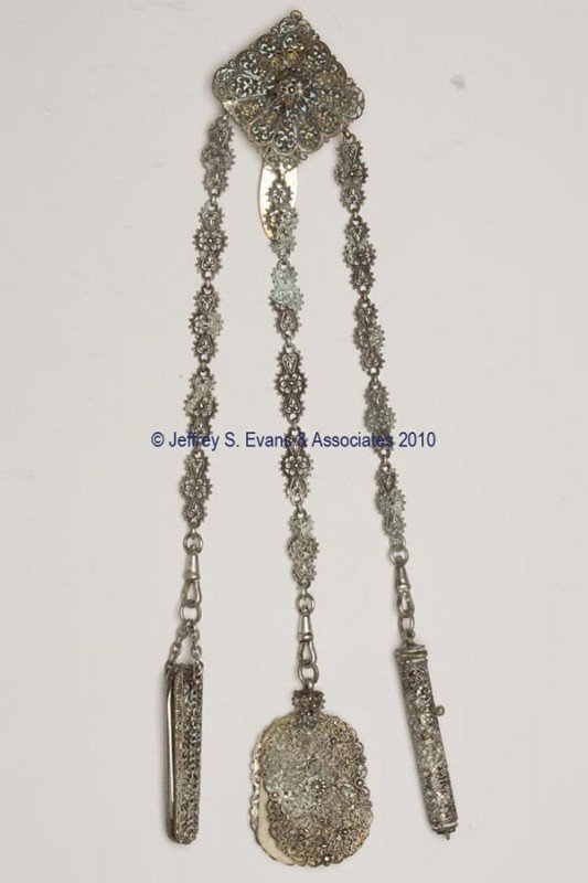 10: GILT AND FILIGREE METAL DANCE CHATELAINE