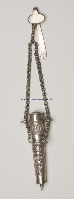 13: CONTINENTAL SILVER WAIST CHATELAINE WITH SPOOL HOLD