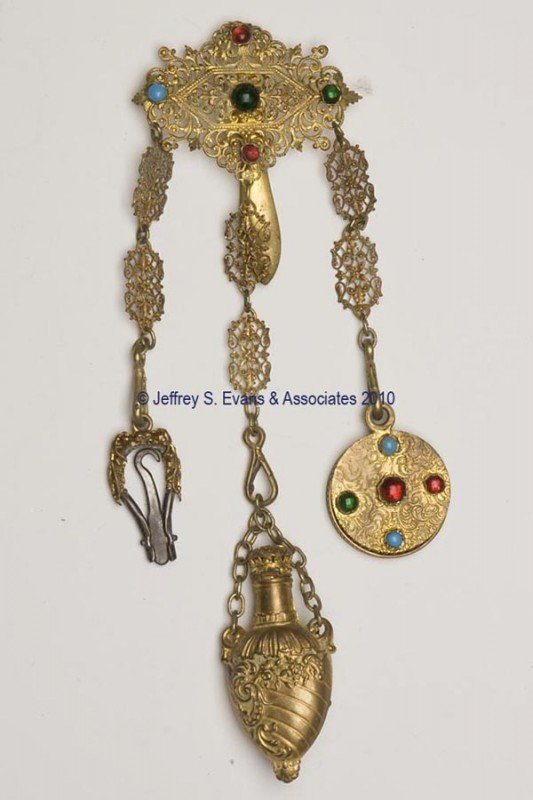 22: GILT-METAL DANCE CHATELAINE