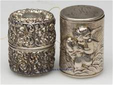 192: UNGER BROTHERS STERLING SILVER SPOOL CONTAINERS, L