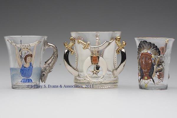 13: SHRINERS' PRESSED GLASS SOUVENIR MUGS, LOT OF THREE