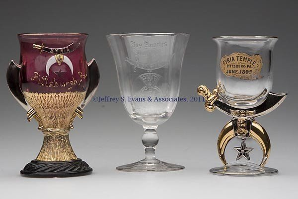 14: SHRINERS' PRESSED AND BLOWN GLASS SOUVENIR DRINKING