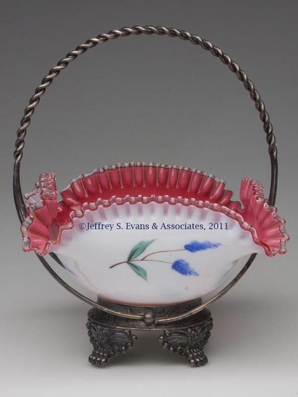 405: VICTORIAN CASED-GLASS BRIDE'S BASKET