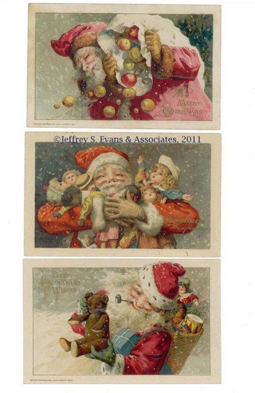 6: WINSCH SANTA CLAUS POST CARDS, LOT OF THREE