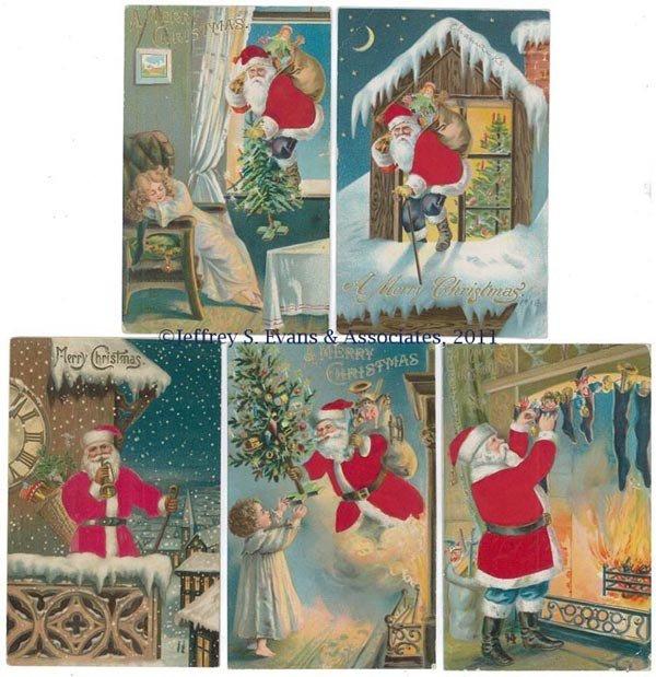 7: SILK-ROBE SANTA CLAUS POST CARDS, LOT OF FIVE