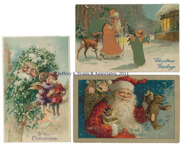 8: SPECIALIZED SANTA CLAUS POST CARDS, LOT OF THREE