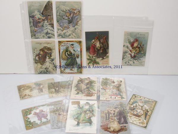 10: ASSORTED COLORED-ROBE SANTA CLAUS POST CARDS, LOT O