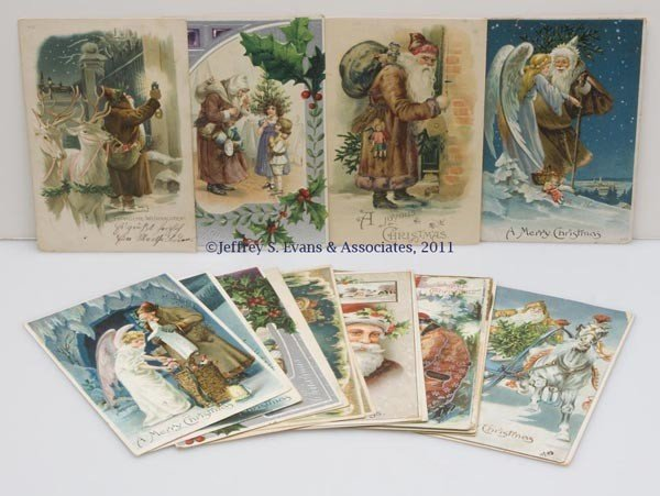 12: ASSORTED COLORED-ROBE SANTA CLAUS POST CARDS, LOT O