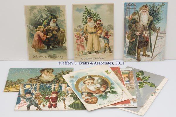 13: ASSORTED COLORED-ROBE SANTA CLAUS POST CARDS, LOT O