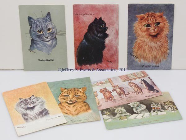 16: ASSORTED LOUIS WAIN CATS POST CARDS, LOT OF SEVEN