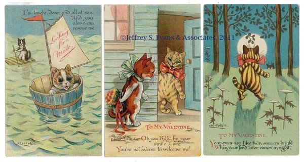 17: LOUIS WAIN CATS VALENTINE POST CARDS, LOT OF THREE