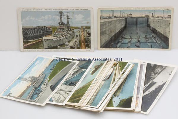 22: PANAMA CANAL SAILING VESSELS POST CARDS, LOT OF 38