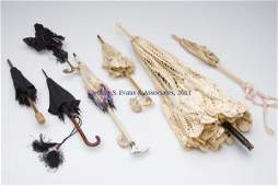 38: ASSORTED DOLL-SIZE PARASOLS, LOT OF SIX