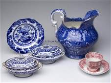 466 STAFFORDSHIRE TRANSFERWARE ARTICLES LOT OF FIVE