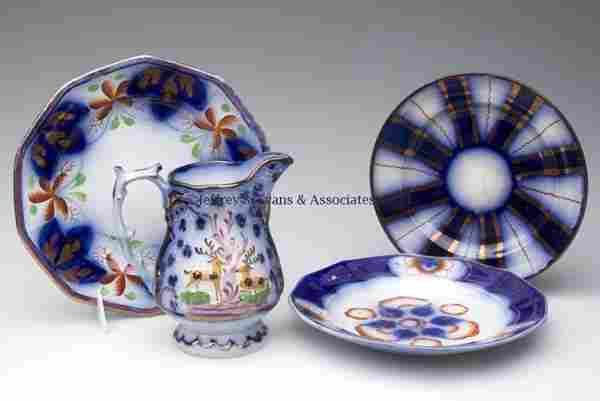 ENGLISH GAUDY BLUE CERAMIC ARTICLES, LOT OF FOUR