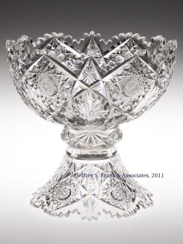 4: HAWKES BRILLIANT CUT GLASS TWO-PART PUNCH BOWL