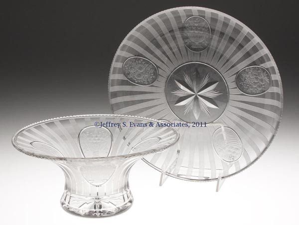 6: HAWKES GRACIA CUT AND ENGRAVED GLASS CENTER BOWL WIT