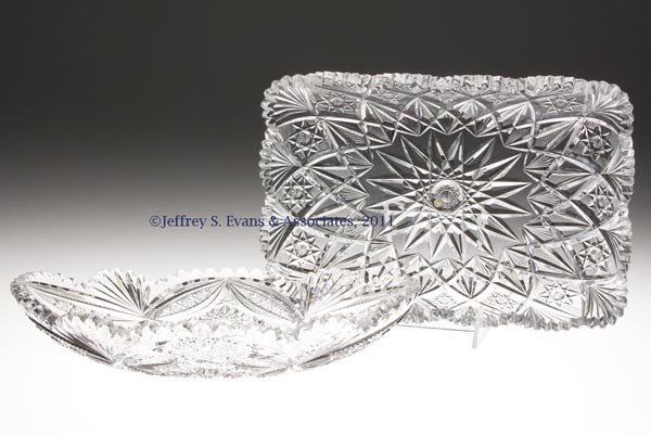 8: LIBBEY BRILLIANT CUT GLASS TRAYS, LOT OF TWO