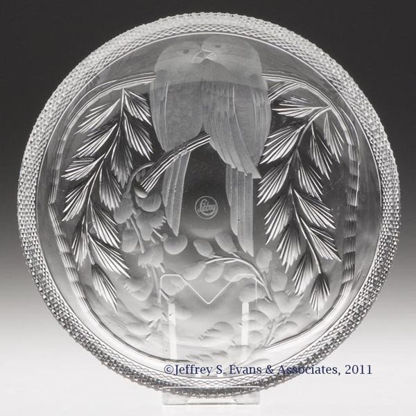 10: LIBBEY LOVEBIRDS / WISTERIA CUT AND ENGRAVED GLASS