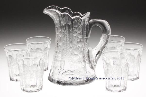 11: LIBBEY CUT AND ENGRAVED GLASS SEVEN-PIECE WATER SET