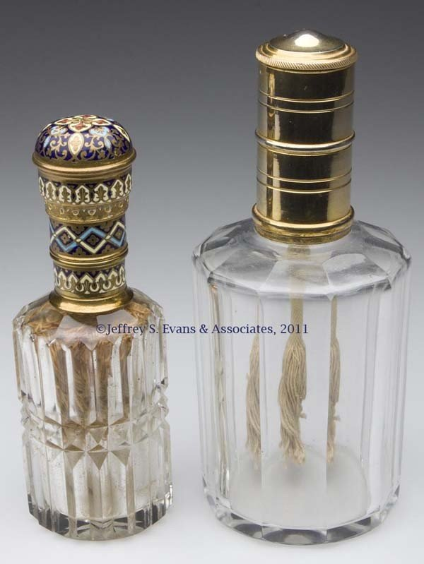 15: CUT GLASS FRAGRANCE BURNERS, LOT OF TWO