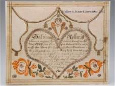 1820 SALVINUS ROLLER, SHENANDOAH CO., VA FRAKTUR B