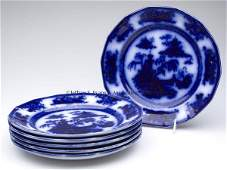 535 ENGLISH STAFFORDSHIRE TRANSFERWARE FLOW BLUE DINNE