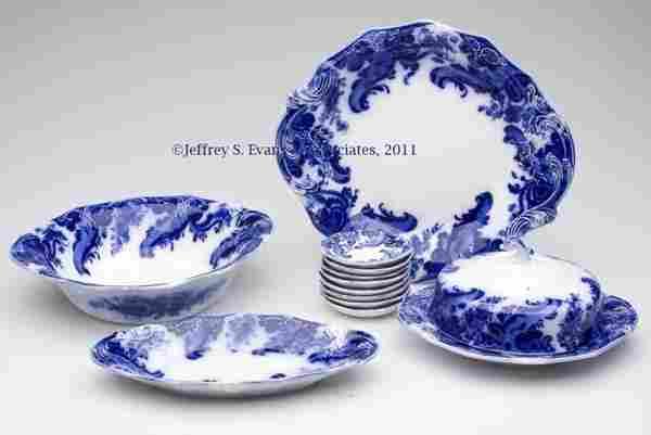 539: ENGLISH STAFFORDSHIRE TRANSFERWARE FLOW BLUE SERVI