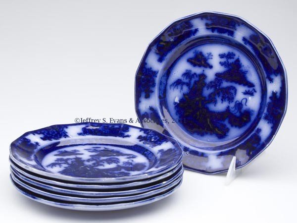 542: ENGLISH STAFFORDSHIRE TRANSFERWARE FLOW BLUE SALAD