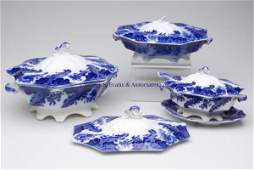 619 ENGLISH STAFFORDSHIRE TRANSFERWARE FLOW BLUE SERVI