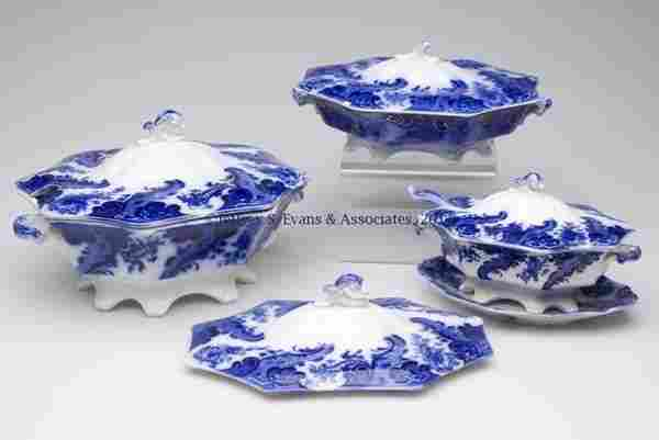 619: ENGLISH STAFFORDSHIRE TRANSFERWARE FLOW BLUE SERVI