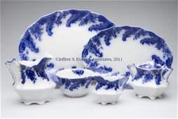 ENGLISH STAFFORDSHIRE TRANSFERWARE FLOW BLUE SERVI