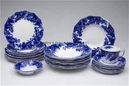 ENGLISH STAFFORDSHIRE TRANSFERWARE FLOW BLUE PARTI