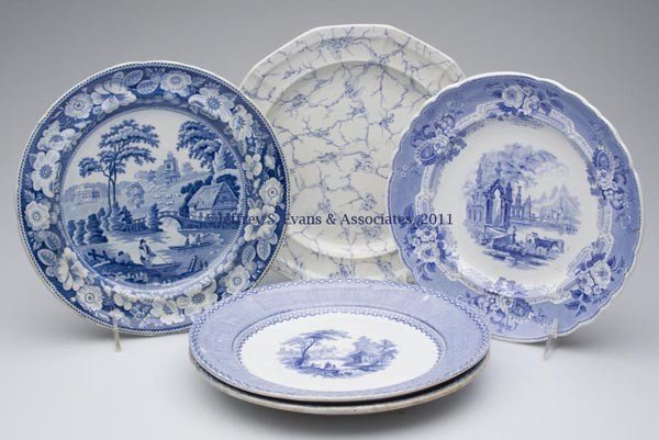712: STAFFORDSHIRE TRANSFERWARE PLATES, LOT OF FIVE