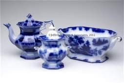 722 ENGLISH STAFFORDSHIRE TRANSFERWARE FLOW BLUE ARTIC