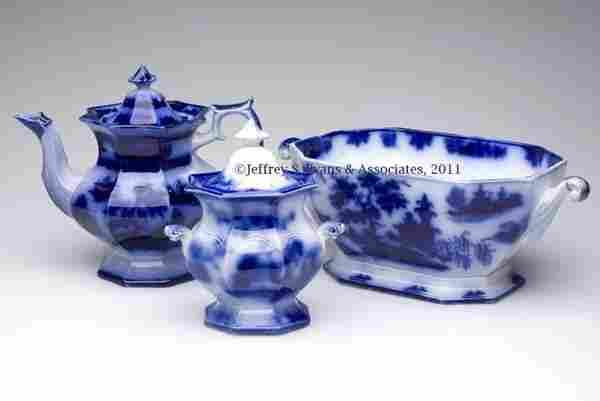 722: ENGLISH STAFFORDSHIRE TRANSFERWARE FLOW BLUE ARTIC