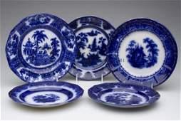 735: ENGLISH STAFFORDSHIRE TRANSFERWARE FLOW BLUE PLATE