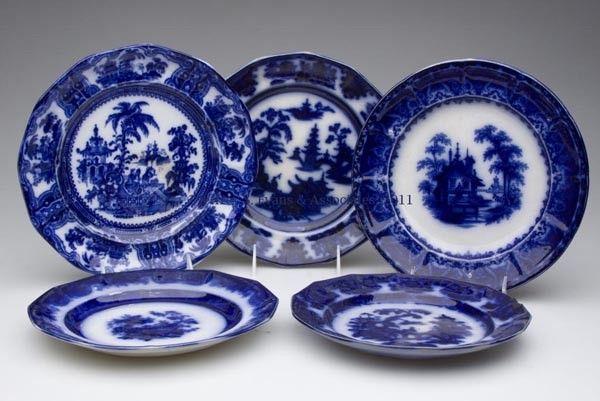 ENGLISH STAFFORDSHIRE TRANSFERWARE FLOW BLUE PLATE