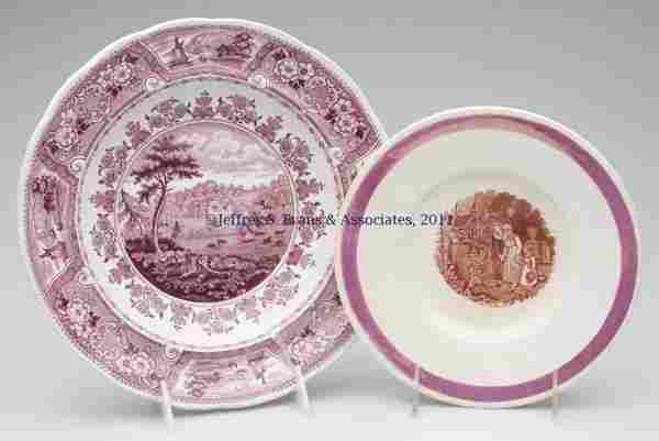 742: STAFFORDSHIRE TRANSFERWARE ARTICLES, LOT OF TWO