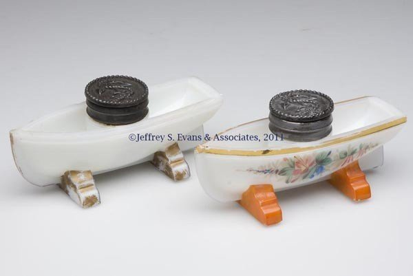 6: PRESSED BOAT-FORM INKSTANDS, LOT OF TWO