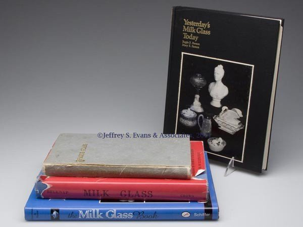 8: OPAQUE / MILK GLASS REFERENCE VOLUMES, LOT OF FOUR