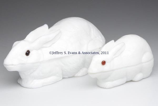 10: ATTERBURY RABBIT COVERED DISHES, LOT OF TWO