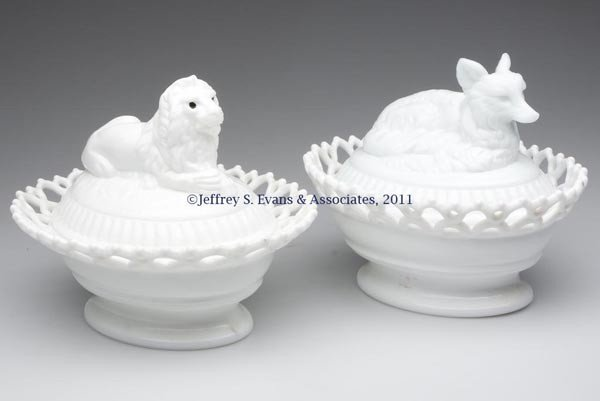15: ATTERBURY LACY BASE COVERED DISHES, LOT OF TWO