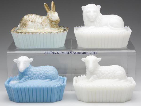 17: VARIOUS ANIMAL ON PICKET BASE COVERED DISHES, LOT O