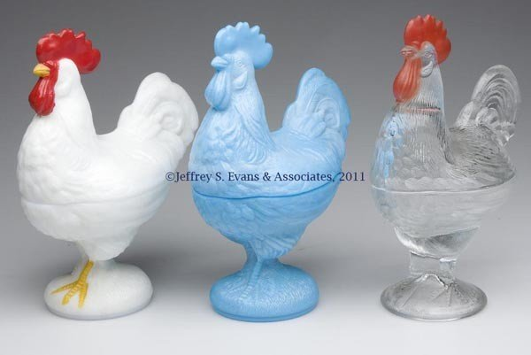 22: STANDING ROOSTER COVERED DISHES, LOT OF THREE