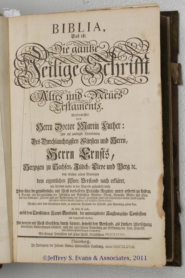 1: 1768 NUREMBERG FOLIO BIBLE