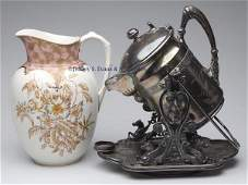 686: VICTORIAN QUADRUPLE-PLATE WATER PITCHER AND STAND