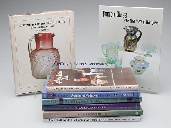 23: OPALESCENT GLASS REFERENCE VOLUMES, LOT OF EIGHT